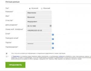 Заполнение заявки на выдачу кредита