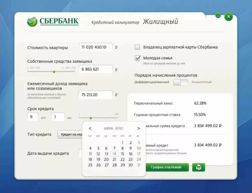 Ипотечный калькулятор Сбербанк 2020 год